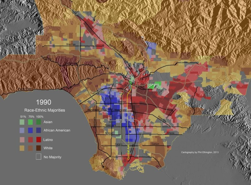 Animated Majority Map Series  Los Angeles County  1940 2000 This page has paths