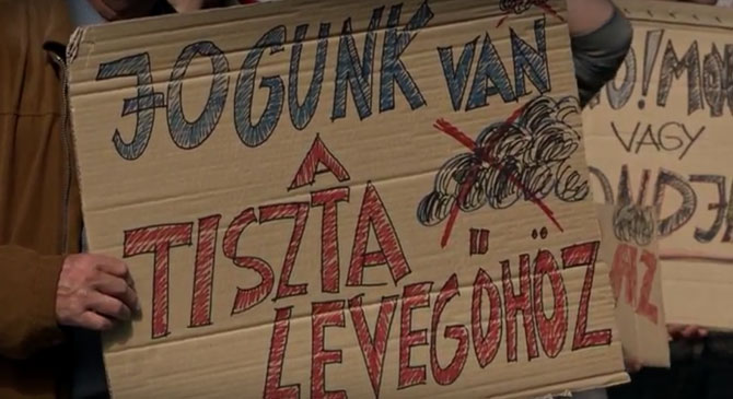 Videó: tiltakozás a párkányi hulladékégető ellen