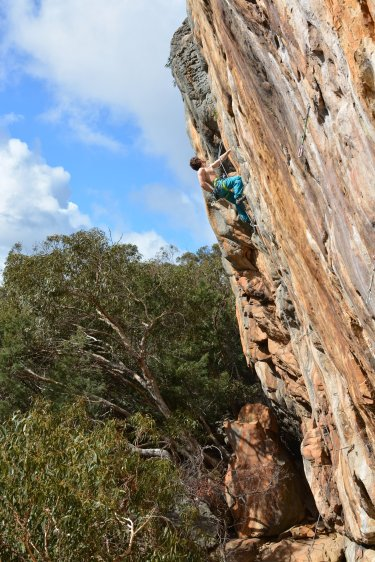 Andi on a semi-trad route on Sandinista Wall