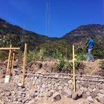 Base wall of the yoga retreat space at Lake Atitlan Guatemala is growing