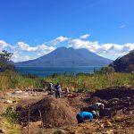 Local mayan workers working on Zendo Yoga Shala with Lake Atitlan in the background