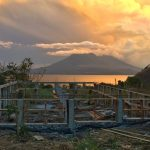 Sunset over strong foundations of DYZC's zendo yoga shala at Lake Atitlan Guatemala