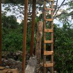 Natural wooden ladder at the construction of Casa Jardin