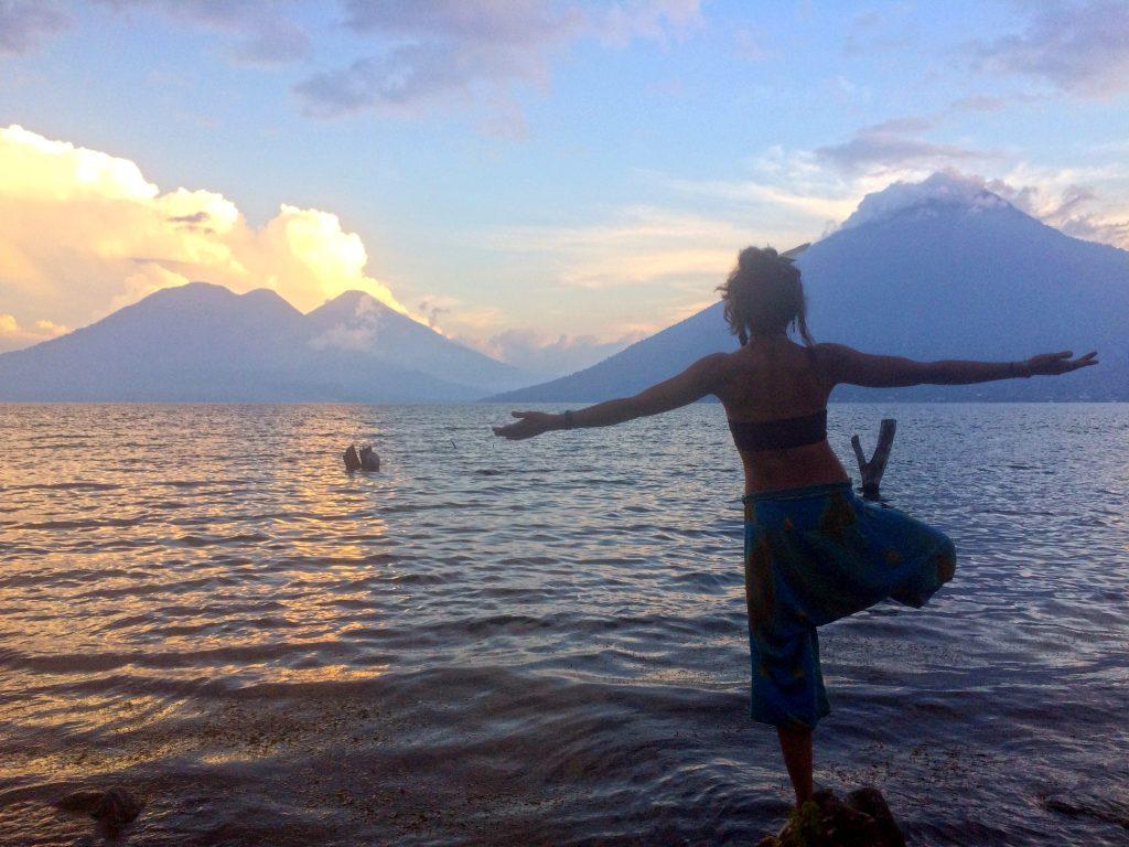 Tree pose in front of Lake Atitlan