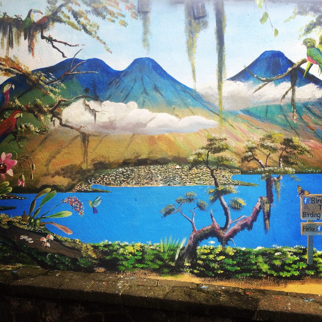Santiago Atitlan Mural Painting of the volcanoes