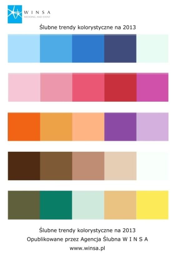 Kolorystyka ślubna na 2013 rok, ślubna kolorystyka na 2013, kolory ślubne na 2013, modne kolory ślubu w 2013, Agencja Ślubna Winsa