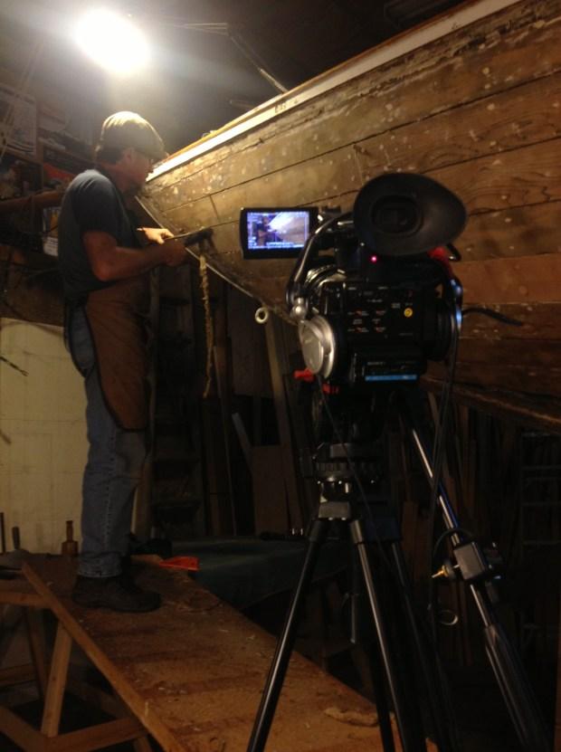 Tobi Elliott filming Tony Grove reefing Dorothy's seams
