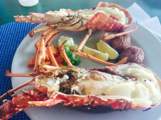Grilled Anegada lobster is served at The Big Bamboo on Anegada, BVI. (photo by dorothyadele)