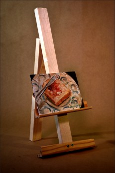This wooden easel was made for my latest stop motion film. The painting was done by Todd Groesbeck, www.toddgroesbeck.com.