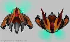 A concept drawing of an alien fighter ship for an upcoming steam punk-inspired PC game.
