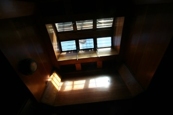 Hatch from inside Pacific Grace, a SALTS tallship.