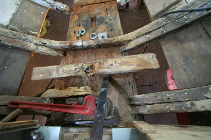Removing compromised wood around keel bolt