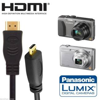 Panasonic DMC-TZ60EB, DMC-FZ1000EB Camera HDMI Micro TV Monitor 2m Gold Wire Lead Cord Cable
