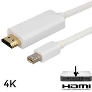 Apple Mac Mini PC Mini DisplayPort(DP) to HDMI TV/Monitor 1.5m Gold 4K White Adapter Cord Wire Lead Cable