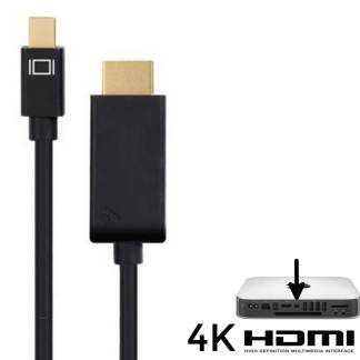 Apple Mac Mini PC Mini DisplayPort(DP) to HDMI TV/Monitor 1.5m Gold 4K Black Adapter Cord Wire Lead Cable