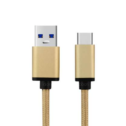 BLU Vivo 5, 6, XL USB-C 3.1 to USB-A Charger Laptop PC 1m Gold Cord Lead Wire Cable