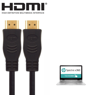 HP Stream 11-d016na, 15-ac024na, Spectre X360 13-4001na Laptop HDMI to HDMI TV 5m Long Fuse Gold Cord Wire Lead Cable