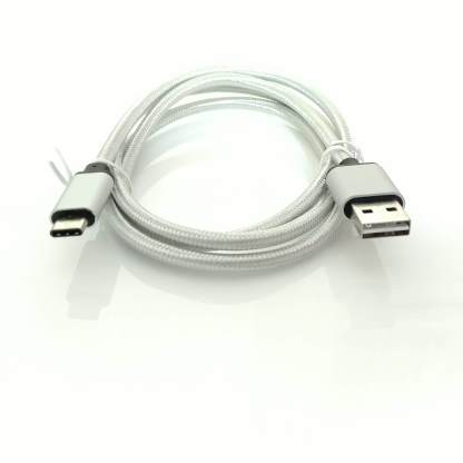 Huawei P10 Plus, P9 Mobile Phone USB Type-C to Reversible USB-A Charger 'n Sync Data Laptop PC Silver Wire Lead Cable