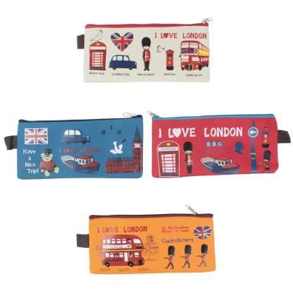 London, UK Office, University, College, School Canvas Pencil/Pen Bag/Case