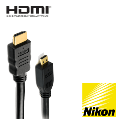 Nikon Coolpix S9600, P600, S9700, S5300 Camera HDMI Micro TV Monitor 2m Gold Wire Lead Cord Cable