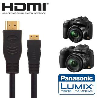 Panasonic DMC-FZ72, GX7 Camera HDMI Mini TV Monitor 5m Gold Wire Lead Cord Cable