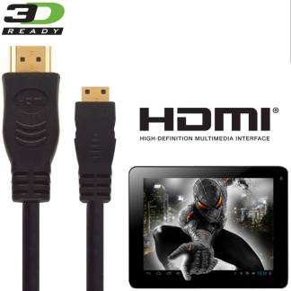 Alba 10 inch Android Tablet PC HDMI Mini to HDMI TV 3m Gold Cord Wire Lead Cable