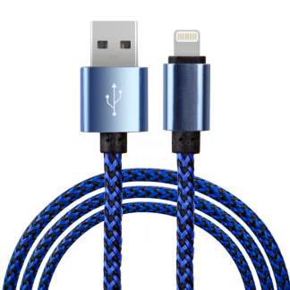 Premium Braided iPhone 5C, 5S, SE, 6S Plus, iPad Mini 3, 4 / Air 2 & iPod Nano / Touch USB Laptop PC Computer / Charger Lightning Lead Wire Cord Cable - Blue