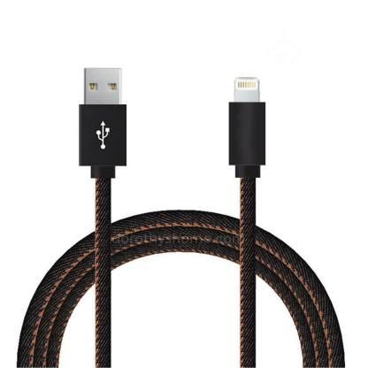 Premium Denim iPhone 7 Plus, 6S, SE, 5S, iPad Air 2 / Mini 4, 3 & iPod Touch / Nano USB Laptop PC Computer / Charger Lightning 2m Lead Wire Cord Cable - Black