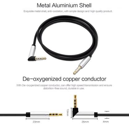 Premium right-angled 3.5mm (male) to 3.5mm (male) Audio Jack Plug Stereo Aux Lead Wire Cable - Black