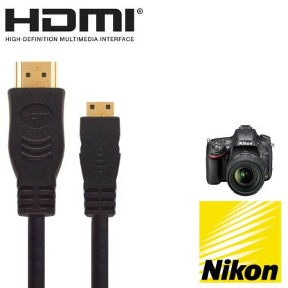 Nikon D3300, D5300 & D5600 DSLR Camera HDMI Mini TV 2.5m Gold Cord Wire Lead Cable