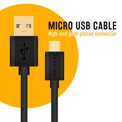 Voxlink micro USB Fast Charger & Data Lead Wire Cable for Sony Xperia X, XA, Z5 Compact