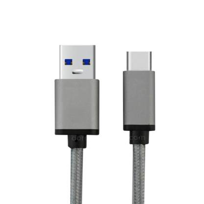 Meizu PRO 5, 6, MX6 Mobile Phone USB-C to USB-A Charging Charge 'n Sync Data Laptop PC Gold Lead Wire Cable - Grey