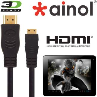 Ainol AX10, Novo 7, 10 Tablet HDMI Mini to HDMI TV 5m Long Gold Cord Lead Cable