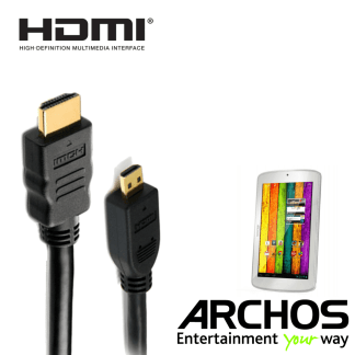 Archos 101 Xenon, 70b Titanium, 80 Cesium HDMI Micro to HDMI TV Monitor 2m Gold Cord Wire Lead Cable