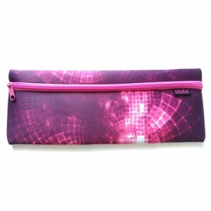 SNÄX Large Neoprene School Kids Girls & Boys Pen Pencil Case 35cm 14 inches Black Pink