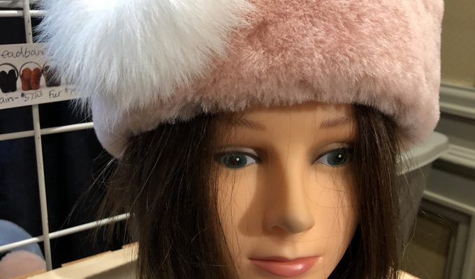 Sheepskin Headband with fur brooch