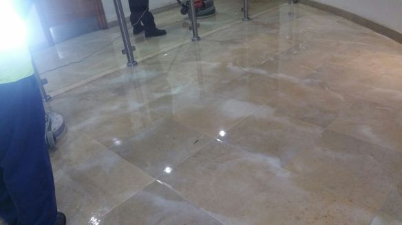Travertine Tiled Floor During Cleaning Nationwide Building Society Bournemouth