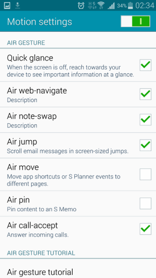 activate air gesture galaxy note 4