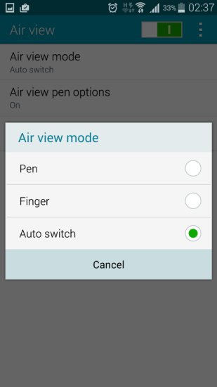 activate air view in galaxy note 4