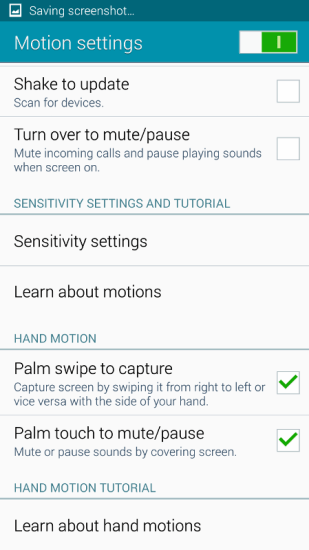 motion settings galaxy note 4