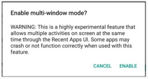 Enable Multi Window Android M Developer Preview