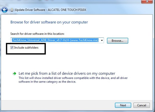 Device Manager update phone ADB driver