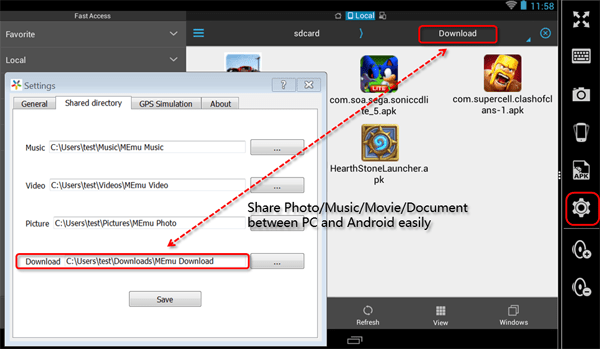 MEmu Android Emulator File sharing