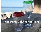 molde de inyeccion de copa de vino de plastico de 3 colores