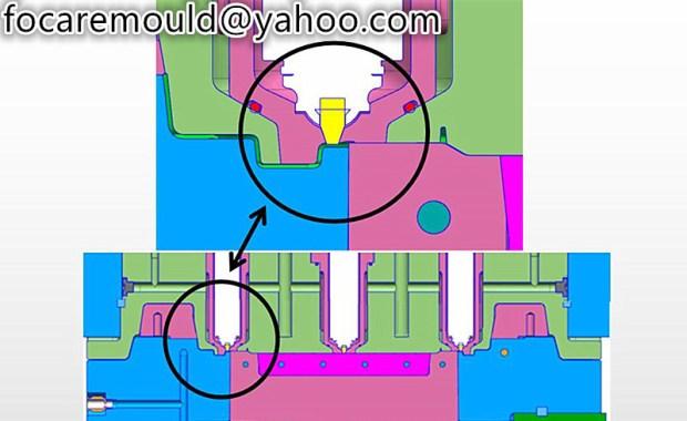 diseno de molde de palanca de nucleo de inyeccion doble