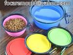 cuenco de comida para mascotas de dos colores plegable