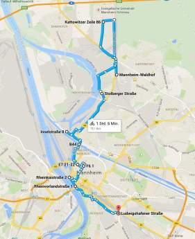 Karte (map) der Street Art Tour durch Mannheim