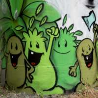Frankfurter Niddapark - Graffiti an den A66 Pfeilern