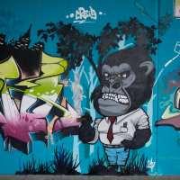 Graffiti-Projekt - Das dreckige Dutzend unter der Breitenbachbrücke in Frankfurt (04/2017)