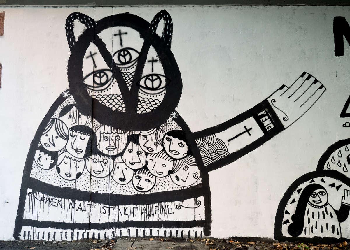 """Frankfurt – Graffiti unter der Friedensbrücke (10/2017) """"Meine Schuld"""" von Peng"""